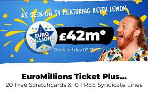 Euromillions + 20 Free Scratchcards + 10 Free Syndicate lines - £2.50 @ LottoGo (New Customers)