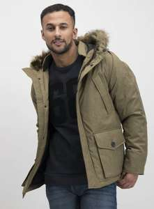 Stone Marl Short Parka With Faux-Fur Trim - Size S £22.50 at Argos
