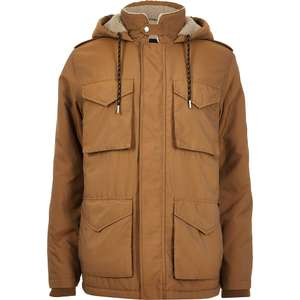 Brown borg lined hooded utility parka - £30 @ River Island + (£1 Click+Collect)