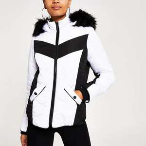 White Mono Faux Fur Hood Padded Jacket - Size 10 @ River Island + (£1 Click+Collect)