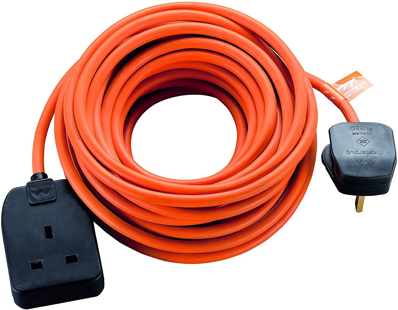 Masterplug Heavy Duty Single Socket Long Extension Lead, 10 metres for £5 @ Amazon (Add-On Item)