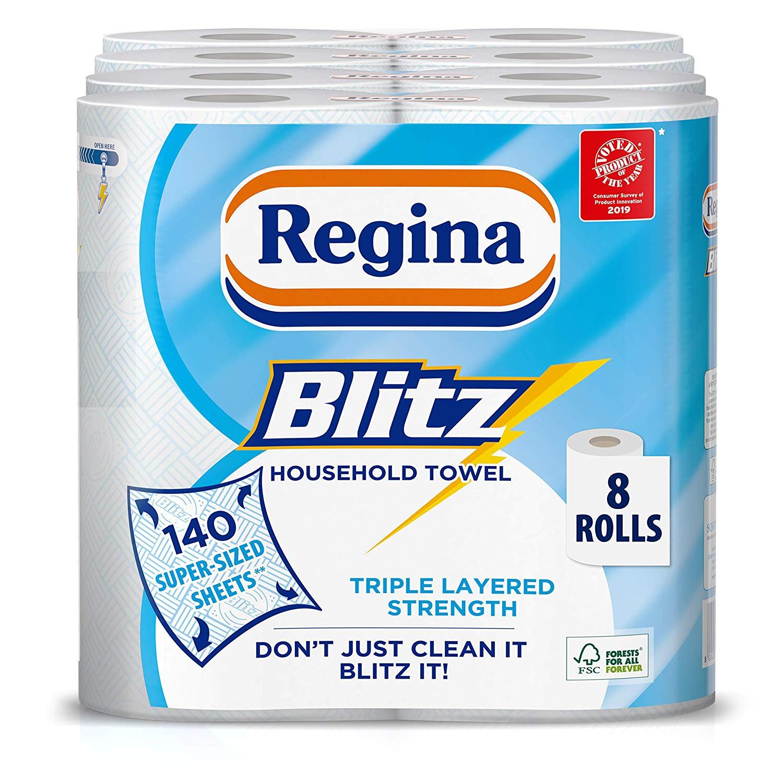 Regina Blitz Household Towels - Pack of 4, Total 8 - £8 Prime / +£4.49 non Prime @ Amazon