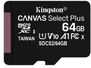 Kingston Canvas Select Plus 64GB microSDHC 100 MB/s* (card only) for £5.99 (Multibuy offer in OP) Delivered @ Base