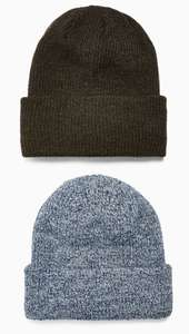 Topman Blue And Khaki Twist Beanie 2 Pack £5 + free Click and Collect