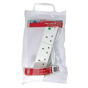 Status 4-Way 2 Metre Surge Protected Extension Lead - £3.20 at Dunelm. Free click and collect.