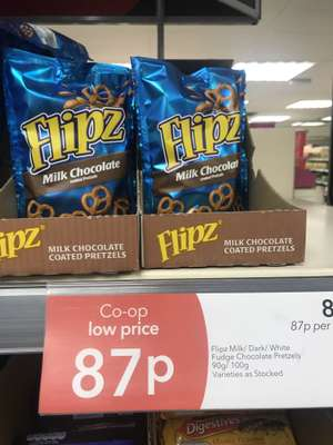 Flipz various flavours on offer at Co-op for 87p
