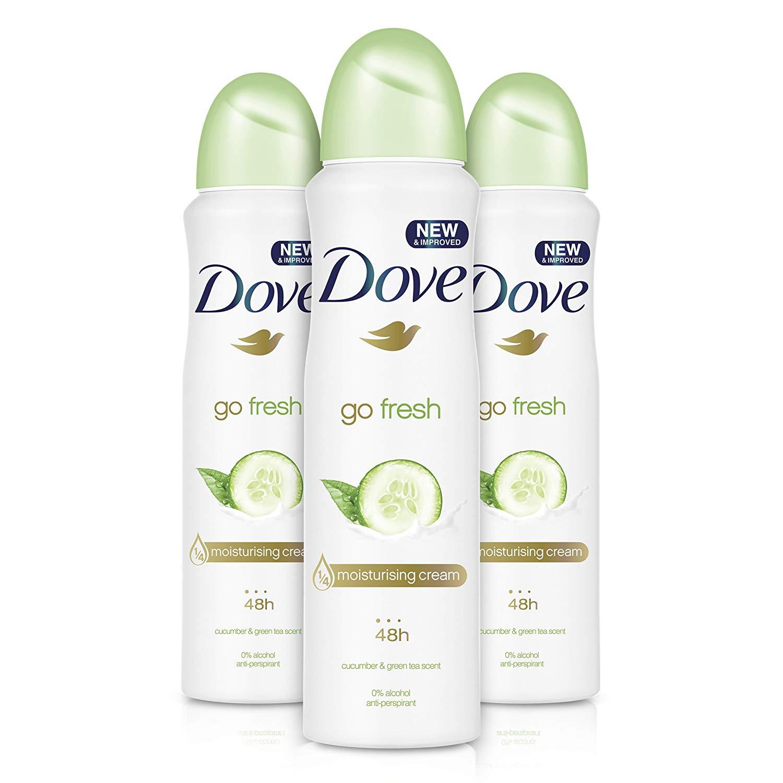 Dove Go Fresh Cucumber Aerosol Anti-Perspirant Deodorant 150 ml - Pack of 3 £3.88 + £4.49 delivery @ Amazon