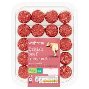 Half price Reduced Fat British Beef Meatballs(x20) - 300g for £2.14 @ Waitrose & Partners
