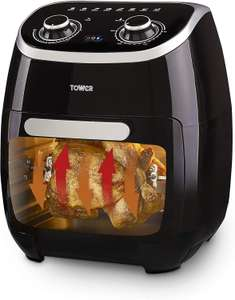 Tower T17038 Manual Air Fryer Oven, 11 Litre, 80-200 Degrees with 60 Minute Timer, Healthy Rotisserie Function £69.99 @ Amazon