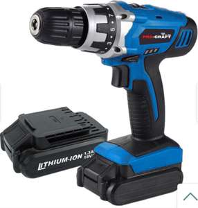 Pro-Craft by Hilka 18V Li-Ion Cordless Drill with 2 Battery Packs - £29.99 with code + Free Click and Collect @ Robert Dyas