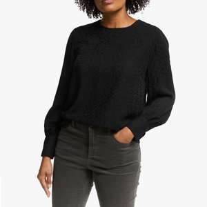 Collection Weekend by John Lewis Animal Jacquard Blouse, Black - £12 + £2 C&C @ John Lewis & Partners