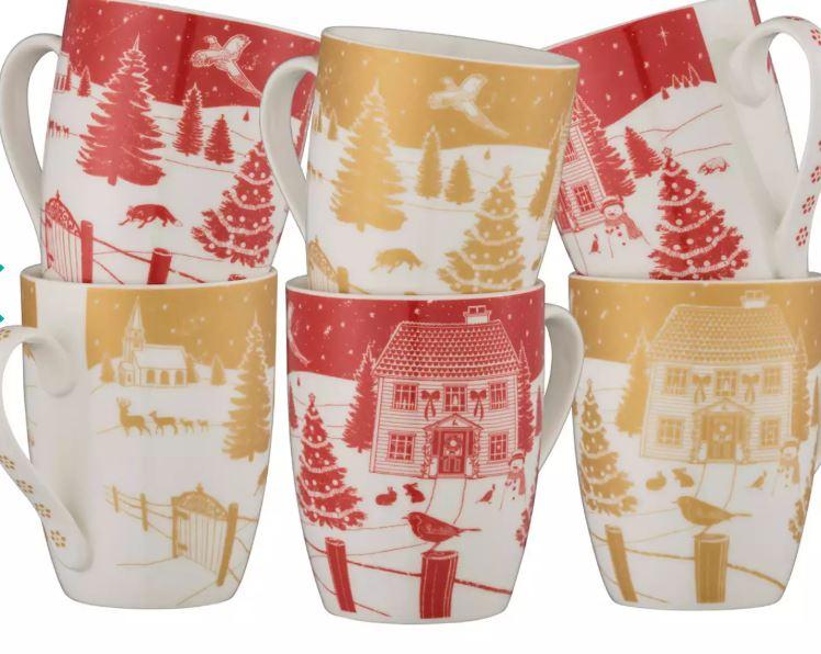 Aynsley China - Christmas in the country set of 6 mugs in a gift box £16 at Debenhams