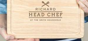 Personalised Family Chef Chopping Board For Him £12.50 @ Not On The High Street (Free Delivery)