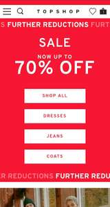 Get an Extra 10% off at Topshop Including upto 70% sale. (Free c&c)