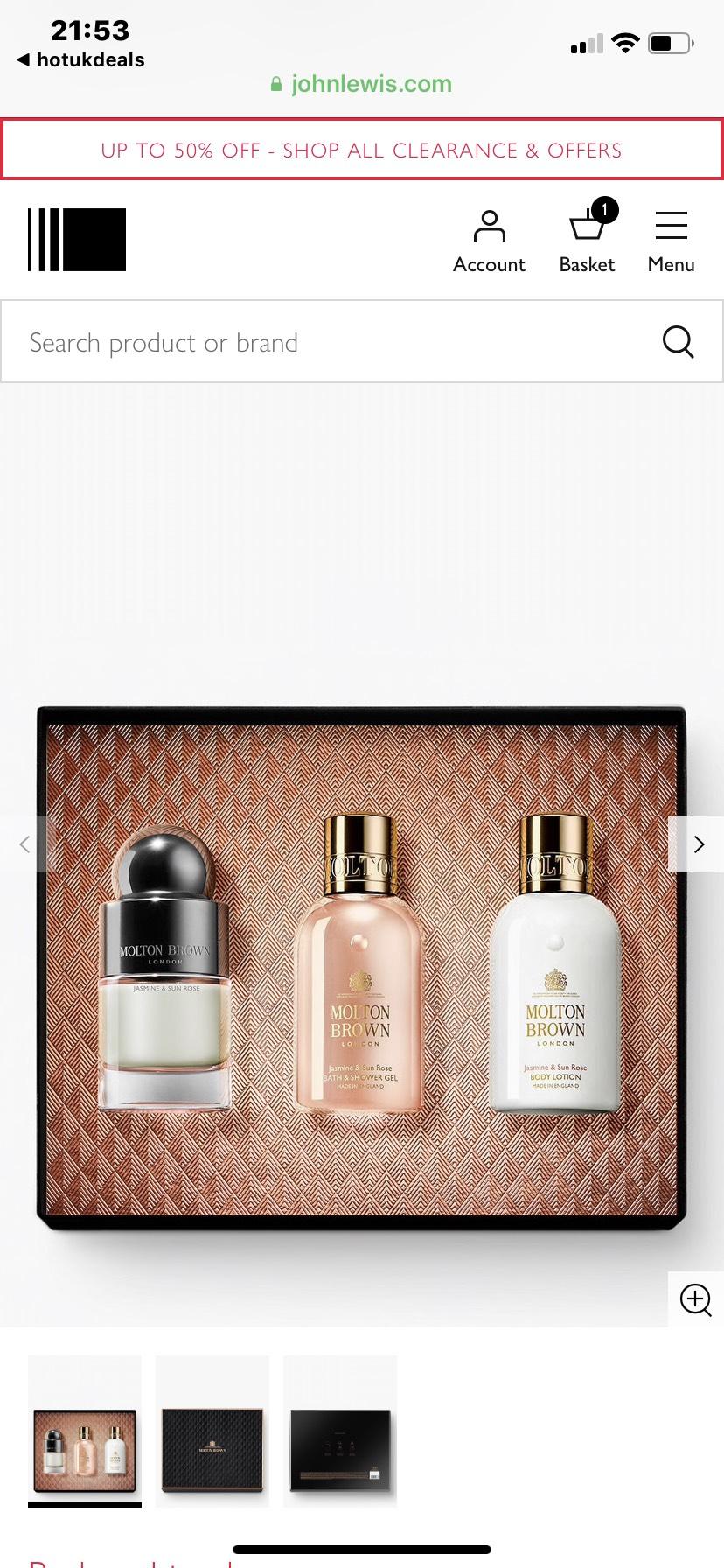 Molton Brown Jasmine & Sun Rose Eau de Toilette 50ml Fragrance Gift Set - £35 @ John Lewis & Partners (Free Click & Collect)