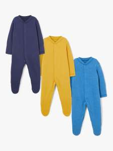 John Lewis & Partners Baby Sleepsuit, Pack of 3, Multi - £6.50 @ John Lewis & Partners (+£2 Click & Collect)