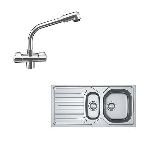 Franke Reno/Danube Polished Stainless steel 1.5 Bowl Sink, tap & waste kit @ B&Q