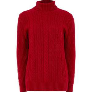 JEANNE PIERRE Red Carmine 100% cotton Fisherman Cable Jumper £16.99 + £1.99 click and collect @ TK Maxx