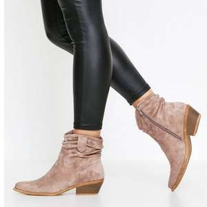 Slouch Faux Suede Western Boots in Black, Tan, or Stone now £12.00 + Free delivery @ MissPap