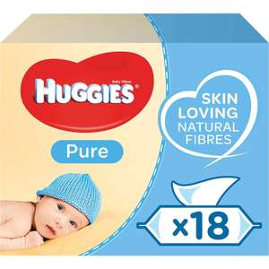 Huggies Pure Baby Wipes 18 Packs (1008 wipes) £9.75 Prime / £14.24 non Prime @ Amazon