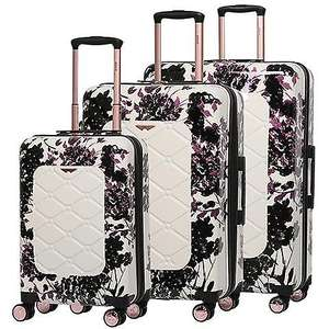 Aerolite Lightweight Polycarbonate Hard Shell 4 Wheel 3 Piece Luggage Suitcase Set in pink floral or black floral £65.99 at fruugo