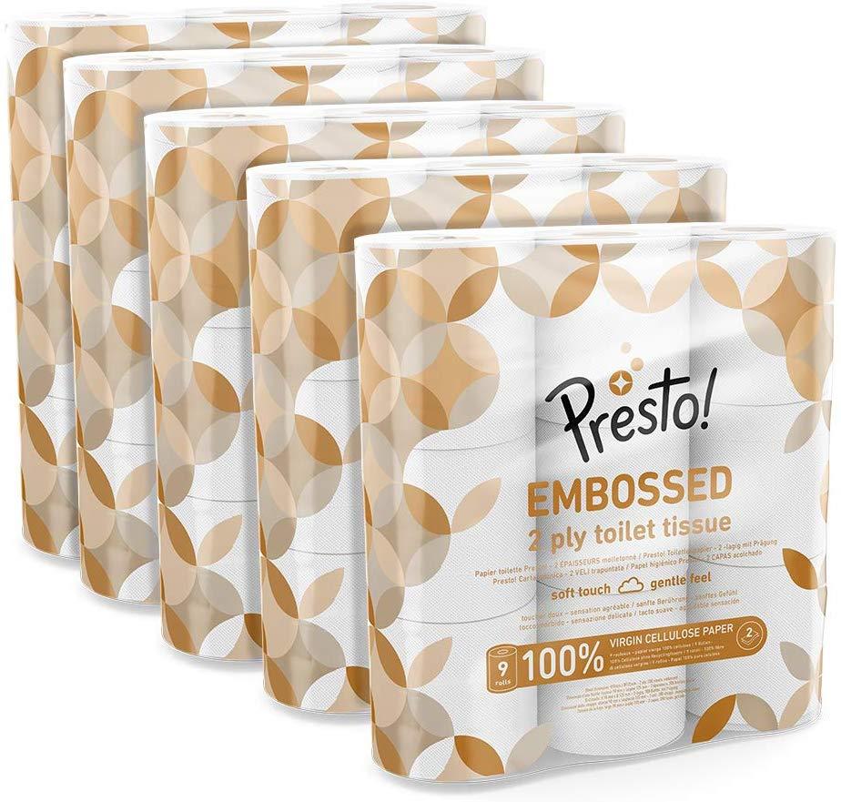 Amazon Brand - Presto! 2-Ply Embossed Toilet Tissues,45 Rolls (5 x 9 x 200 sheets) now £11.98 (Prime) + £4.49 (non Prime) at Amazon