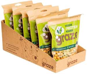 Graze Sea Salt and Pepper Veggie Protein Power 128g (Pack of 6) - Vegan Snacks now £8.94 (Prime) + £4.49 (non Prime) at Amazon