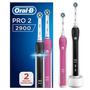 Oral-B Pro 2 2900 Set of 2 CrossAction Electric Rechargeable Toothbrushes, 1 Black and 1 Pink Handle, 2 Modes £40 Amazon
