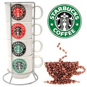 Set Of 4 Starbucks Coffee Tea Mugs With Stand Latte Ceramic Cup Espresso Gift £5.99 delivered @ direct2publik ebay