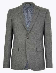 Slim Fit Italian Suit (Jacket & Trousers) in Grey or Burgundy for £38 delivered @ Marks & Spencer