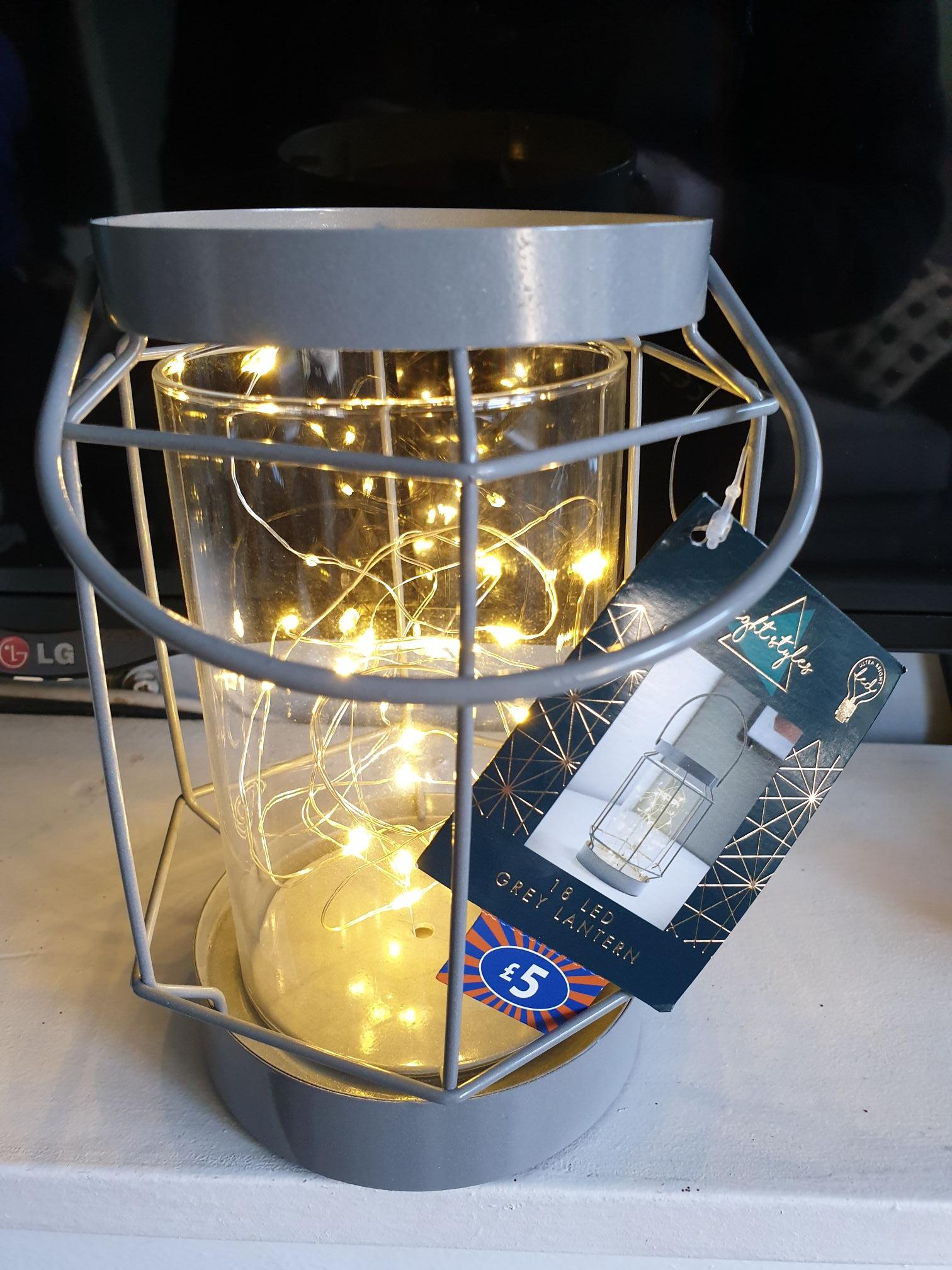 18 LED Grey Lantern @ B&M Walton - £2