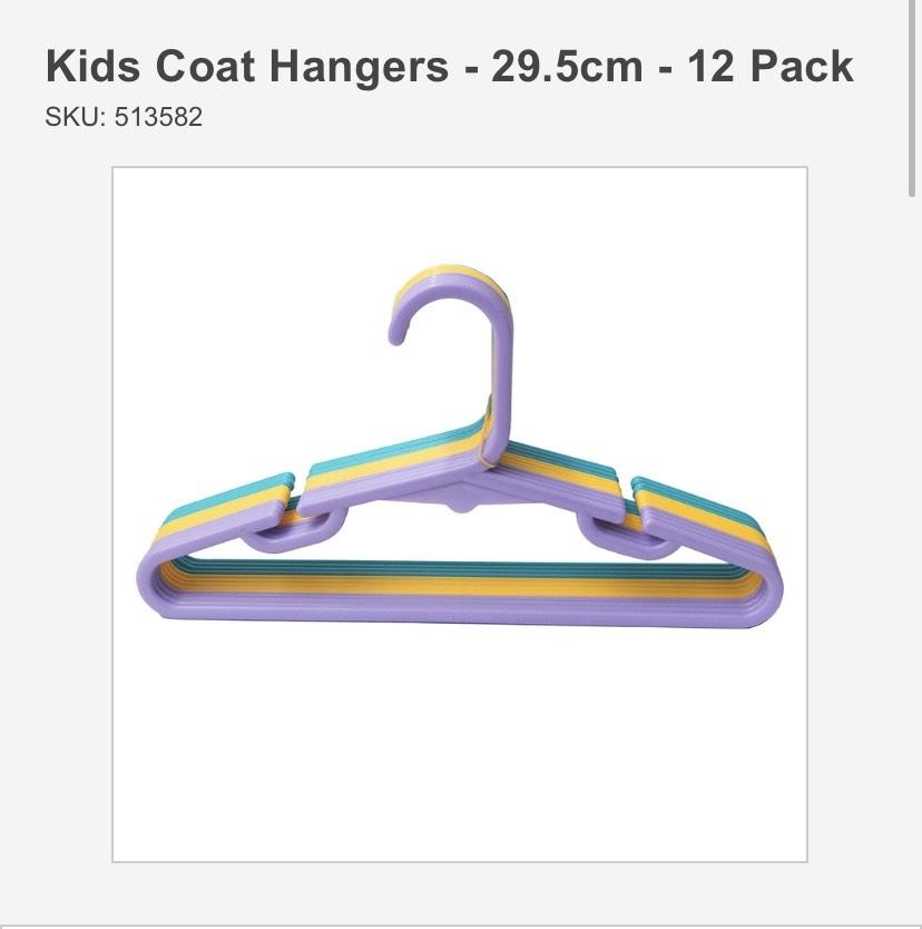 KIDS COAT HANGERS PK 12. Homebase Morecambe - £1.44