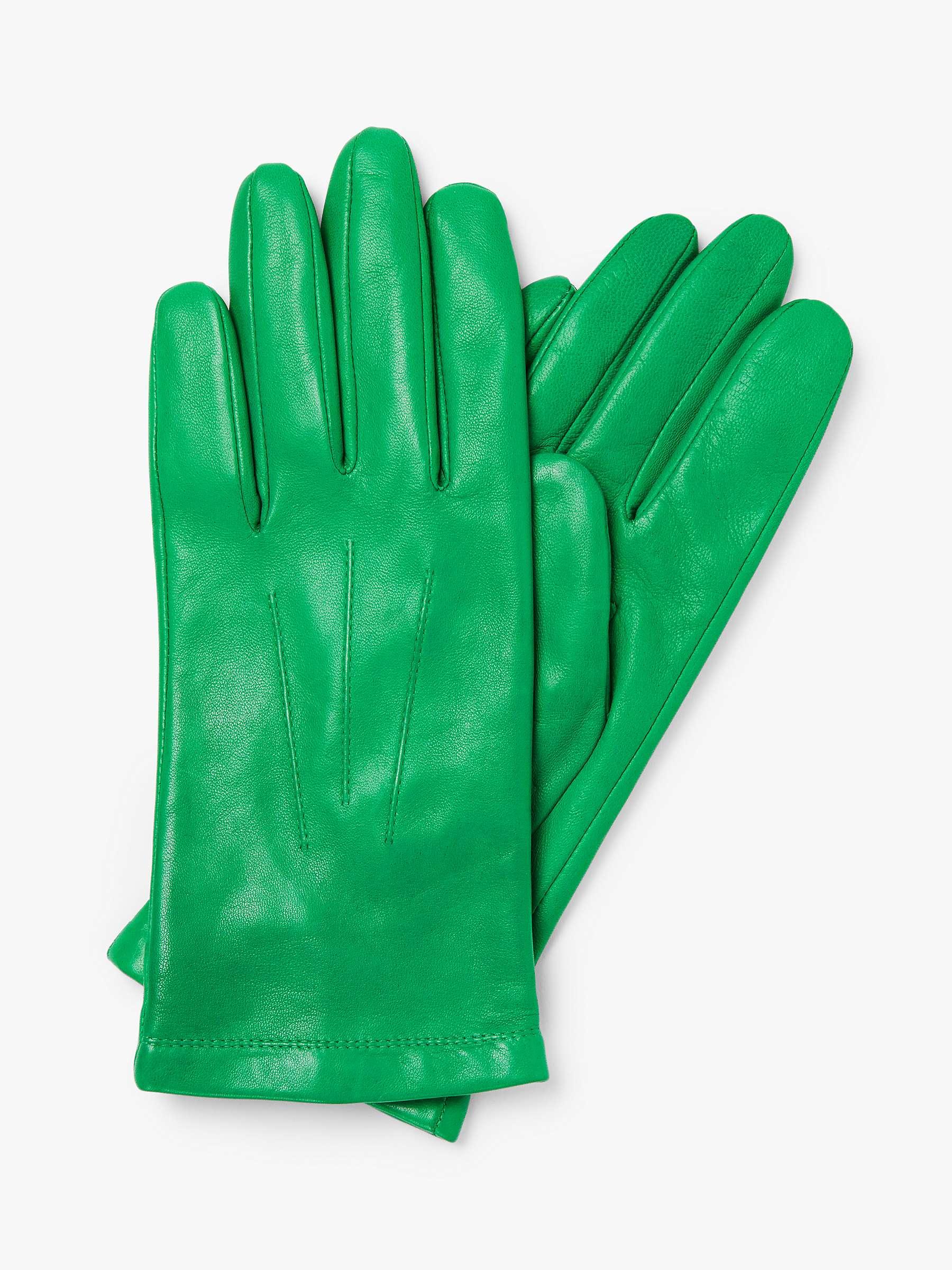 John Lewis & Partners Fleece Lined Leather Gloves, Bright Green + other colours £12.50 @ John Lewis & Partners