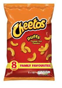 Cheetos Puffs - Cheese & Flamin Hot Flavour's 8 Pack £1 at Iceland