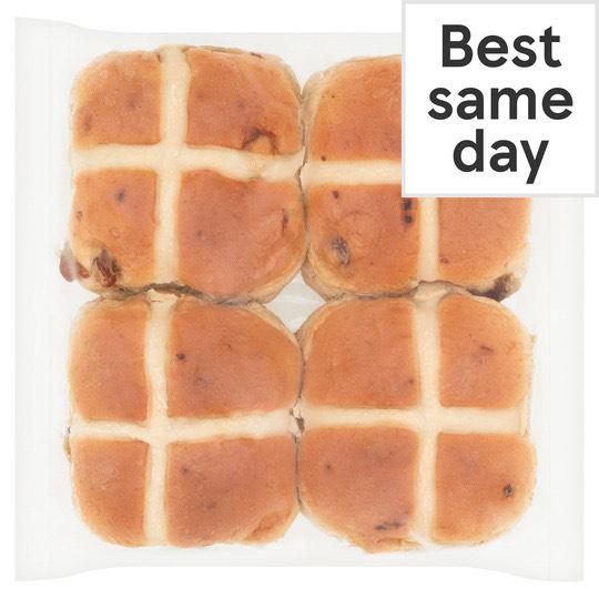 Tesco 4 pack Fresh Bakery Hot cross Buns - 70p