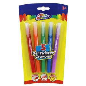 Gel Twister Crayons - 5 Pack @ The Works For £0.75. Free Click & Collect At Your Local Store