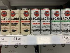 Bacardi mixer cans (blanco/spiced & cola or mojito) £1 @ Home Bargains also tails cocktails berry