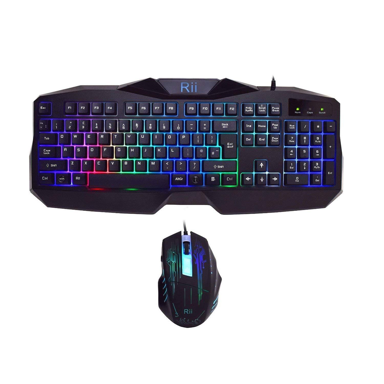 RK400 Rainbow LED Backlit Gaming Keyboard Mouse Combo Bundle UK Layout Black £13.20 at Amazon Prime / £17.69 Non Prime