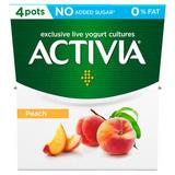 Activia 4 X 120g No Added Sugar Fat Free Yogurt : Peach / Rhubarb / Strawberry / Raspberry , Now £1 @ Iceland