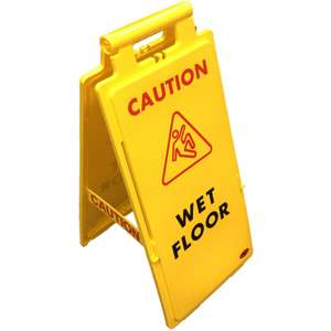 Yellow plastic A-Frame 'Wet Floor' sign £4.50 (+ £4.98 p&p) @ Lawton-his