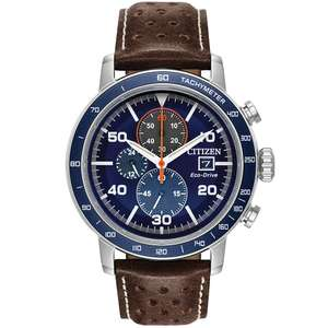 Citizen Men's Brown Leather Blue Chronograph Strap Watch (Eco-Drive) - £149.99 @ H Samuel