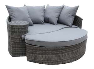 Charles Bentley Rattan Curved Day Bed, Sofa & Footstool - Grey for £155 delivered @ Homebase