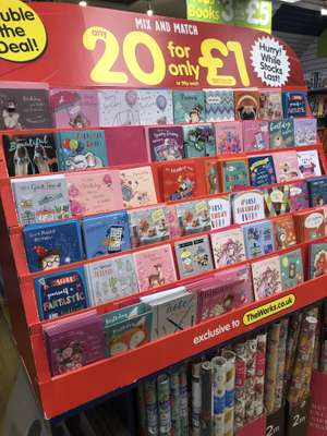 Birthday cards 20 for £1 @ the works Swansea