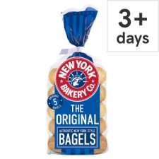 New York Bakery Bagels 5 pack (Original / Wholemeal / Sesame / Red Onion & Chive / Cinnamon & Raisin) £1 @ Tesco