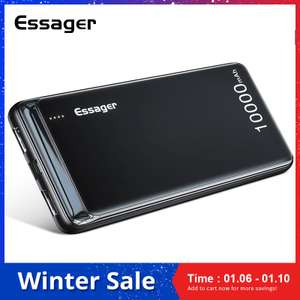 Essager 10000mAh Power Bank Slim USB £5.45 (£3.11 with new user coupon) Delivered @ AliExpress Deals / Essager