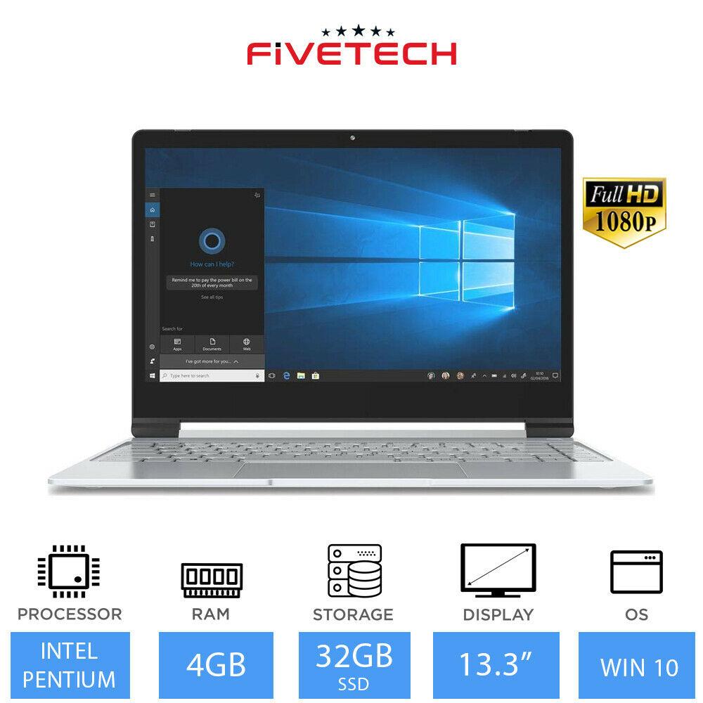 """FIVETECH 3X 13.3"""" Cheap Windows Laptop Intel Pentium N5000, 4GB RAM, 32GB eMMC refurbished laptop £95.99 ebay / laptopoutletdirect"""