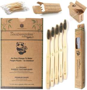 Bamboo Toothbrushes - 5 Pack with Cotton Buds & Dental Floss £7.49 - Sold by Innovate Lifestyle and Fulfilled by Amazon (+£4.49 Non-prime)