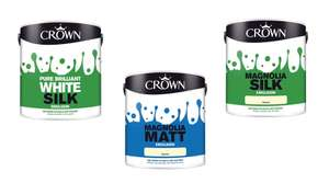 Crown Pure Brilliant White / Magnolia Silk Emulsion 2.5L or Magnolia Matt Emulsion 2.5L for £3 @ Morrisons