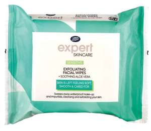 Boots Expert sensitive exfoliating facial wipes + soothing aloe vera 25s - 50p at Boots Shop