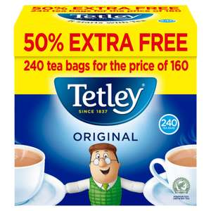 Tetley Original Tea Bags 160s 50% Extra Free - Total 240 Teabags for £2.79 @ Iceland